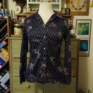 Navy purple floral polyester 1970s disco shirt